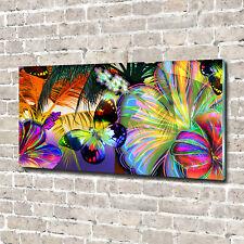 Glas-Bild Wandbilder Glas-Druck 140x70 Blumen & Pflanzen Blumen Schmetterling