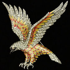 MB Boucher Pave and Metallic Enamel Swooping Eagle Bird Pin