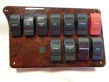 "GODFREY WOOD GRAIN PLASTIC ROCKER SWITCH PANEL 9 5/8"" X 6"" MARINE BOAT"