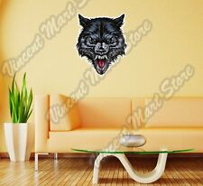 """Angry Wild Wolf Scary Head Back Off Wall Sticker Room Interior Decor 20""""X25"""""""