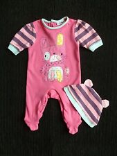 Baby clothes GIRL newborn 0-1m bright pink/aqua soft babygro rabbit babygrow/hat