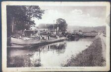 Rare CPA, Demange-aux-Eaux (Meuse), Atelier du toueur, Touage, canal, péniche.