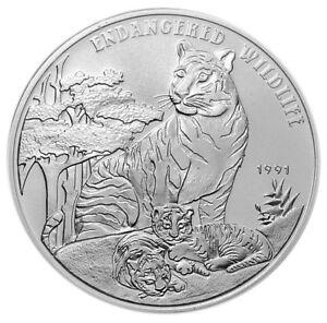 LAO 50 Kip 1991 Silver BU Piedfort 1 oz. TIGER & CUBS