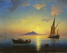 Bay Of Naples Ocean Sea Scape With Ships Russian Painting Art Real Canvas Print