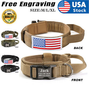 Heavy DutyTactical Military K9 Dog Training Nylon Collar with Tag Name USA Flag