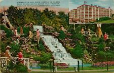 Multi-View Waterfalls Rock Garden Olson Park Rug Factory Chicago IL Postcard B2