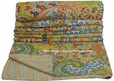 Indian Kantha Throw Paisley Print Kantha Quilt Reversible Bedspread Cotton.Gudri
