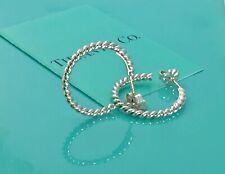 7733b579f RARE Tiffany & Co. Sterling Silver Twist Rope Hoop Earrings .90in L 190319D