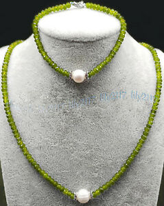 2x4mm Faceted Green Peridot Rondelle Gem 8-9mm White Pearl Necklace Bracelet Set
