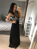 Goddiva Black Plunge neck Sequin Chiffon Dress Ball Gown Evening Maxi Prom
