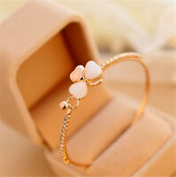 Women Clover Flower Crystal Gold Plated Cuff Bracelet Bangle Fashion Jewelry