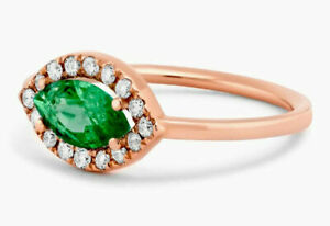 0.40ct Natural Round Diamond 14k Solid Rose Gold Emerald Cluster Ring