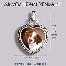 Brittany Spaniel Dog - Ornate Heart Pendant Tibetan Silver