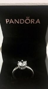 Pandora Clear Sparkling Crown Solitaire Ring - S925 ALE With Box, Size 52
