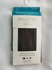 Gold Toe Women's Moderate Compression Herringbone Trouser Socks Brown