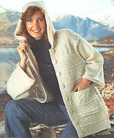 "Womans Ladies Aran Textured Jacket with Hood Knitting Pattern 32""-38"""