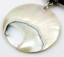 Round Open Natural Nautilus Shell Pendant Cords Necklace Women Jewelry AA417