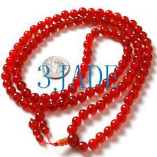 "34"" Tibetan 108 Carnelian / Red Agate Buddhist Prayer Beads Malas"