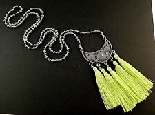 1 Boho Glass Beaded Dangle Necklace with Light Green Pendant Tassels # 976