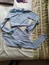 Gymshark Blue Marl Fleur Set Leggings Long Sleeved Top Size Medium 👌