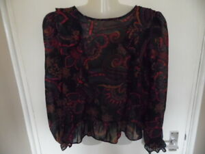 Ladies Multicolour Long Sleeve, Tie Round Neck Floral Top with Frills Size 12