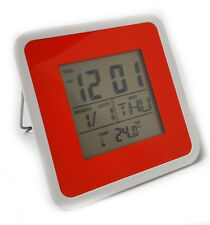 Horloge digitale Multifonction Orange  Calendrier  Thermomètre Minuteur Reveil