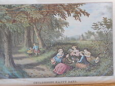Currier and Ives , Childhoods Happy Days print framed girls picking flowers