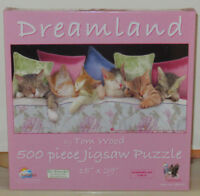 SunsOut DREAMLAND 6 Cats Kittens Sleeping 500 Piece Jigsaw Puzzle Tom Wood 28625