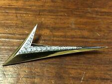 "Solid 18k Yellow & White Gold W/ Diamonds ""Check Mark"" Brooch/ Pin 2.25"" Long"
