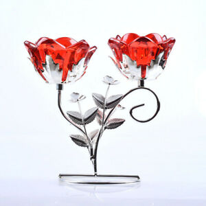LONGWIN Red Crystal Flower 2 Arms Candle Holder Metal Stand Wedding Decor Gift