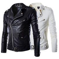 Men Faux Leather Slim Fit Punk Zip Motorcycle Biker Trench Jacket Coat M-3XL LOT