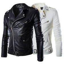 Men Faux Leather Slim Fit Punk Zip Motorcycle Biker Trench Jacket Coat M-3XL LOT