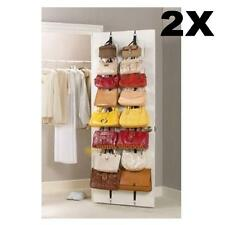 2X 16 Hooks Hat Clothes Organizer Hanger Cap Rack Space Saver Over Door Straps