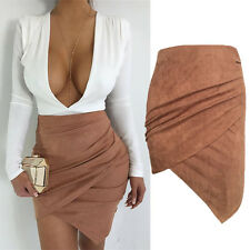 Women Ladies High Waisted Pencil Skirt Bodycon Suede Leather Mini Skirts Club