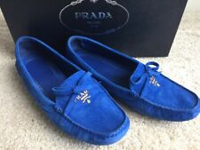 Prada Women Loafers Drivers Flats Cobalt Blue Suede Shoes US 5.5 35.5