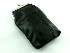 Black Leather Cigarette Case Purse Pack Holder Pouch with Lighter Holder