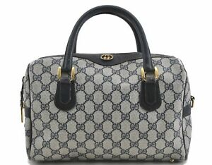 Authentic GUCCI Double G Boston Hand Bag GG PVC Leather Navy Blue D7052