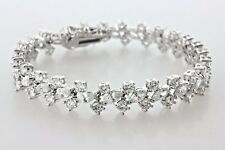 Sterling Silver 925 8.75 TCW Round & Marquise Shaped CZ 10MM Bracelet - 6.75""