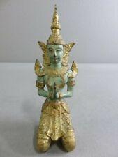 Vintage Bronze Gold Gilt Thailand Teppanom Kneeling Statue Bodhisattva Buddha