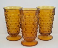 VINTAGE INDIANA AMBER GLASS WHITEHALL CUBE FOOTED TUMBLERS SET OF 3
