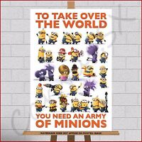 """Army Of Minions Framed Canvas Print Picture Despicable Me 3 Wall Art A1 30""""x20"""""""