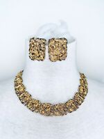 Vintage Beautiful Statement Gold Tone Choker Necklace And Clip On Earrings Set