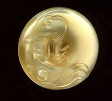 Vintage Glass Button…Rare Moonglow…Anchor & Waves