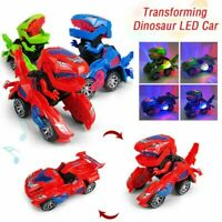 Transforming Dinosaur LED Car Robot Vehicle With Light Sound Kids Toy Xmas Gift