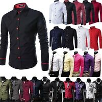 Mens Formal Dress Shirts Slim Fit Casual Long Sleleve Business Shirt Tops New