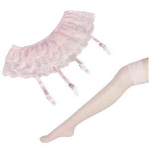 Women Sexy Lace Garter Belt Stockings Thigh-Highs Stay Up Over Knee Long Socks