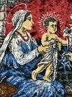 Vintage Tapestry Holy Family Virgin Mary Baby Jesus & Joseph  Wall Hanging