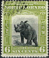 North Botneo Fauna Sumatran Rhinoceros stamp 1920