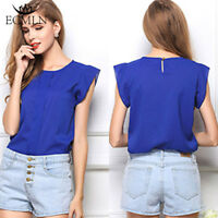 Womens Summer Loose Casual Chiffon Sleeveless Ladies Vest Shirt Top Blouse Tops