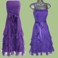 MONSOON Purple Silk Strapless Strappy Pleated Cocktail Party Dress UK 12  EU 40